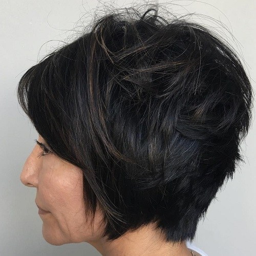 Stacked bob hair for 50 age women