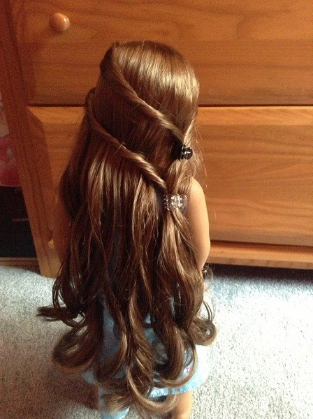 Asymmetrical twists American Girl Doll hairstyle for girl