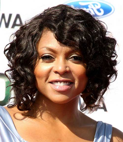 black women Chin-Length Bob short curly hairstyle