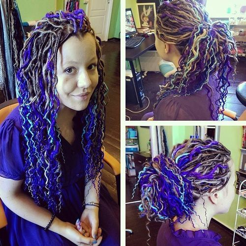 Colorfull Artificial dreadlocks hairstyle
