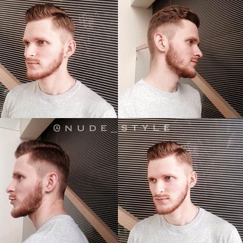 short tapered comb-over hairstyle for men