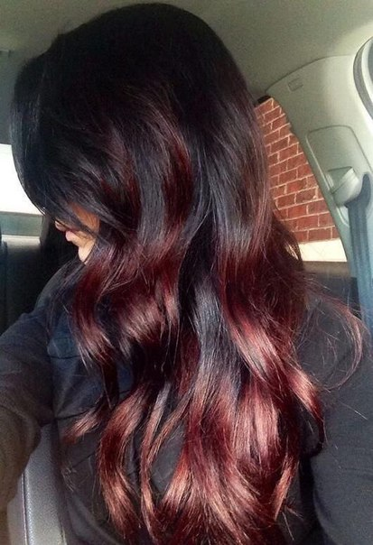 black hair with red highlights for young girl