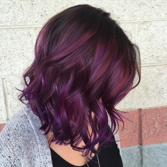 Highlights Of Dark Red Plum Hair Color