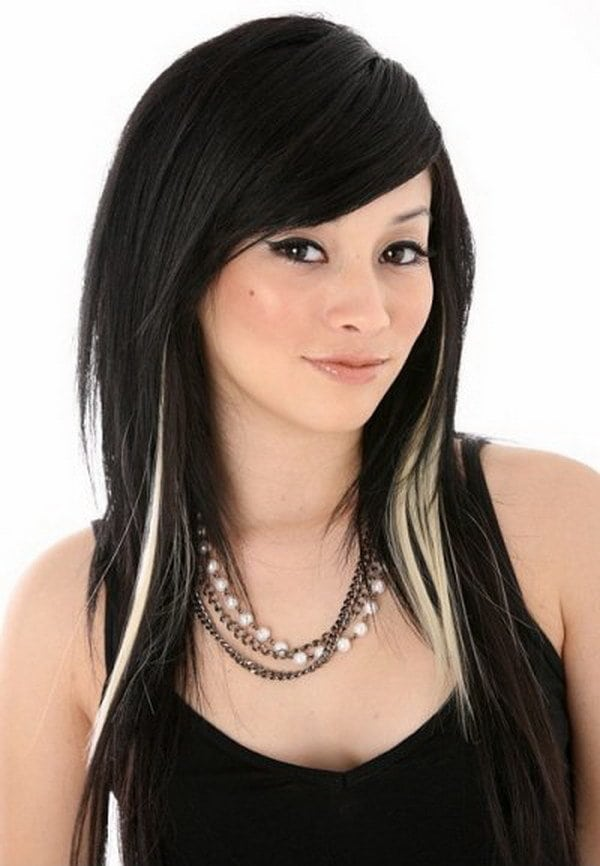 streaks in hair styles 20 original black hair with and caramel highlights 4144