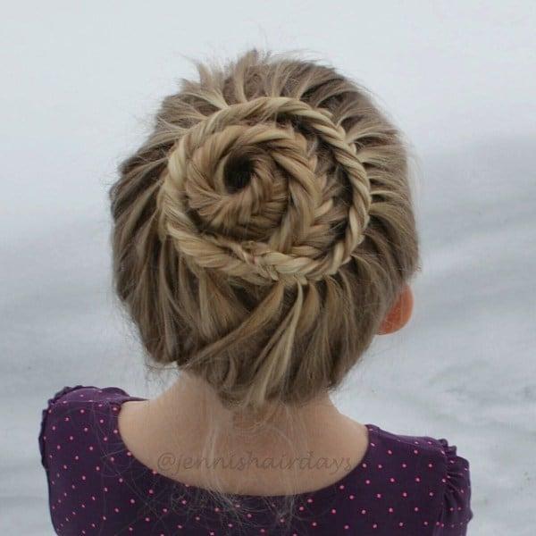 Fishtail Braided Bun hairstyle for little girl