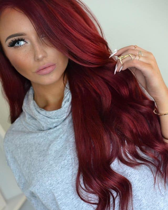 Wine Red Crimson Hair Color Idea
