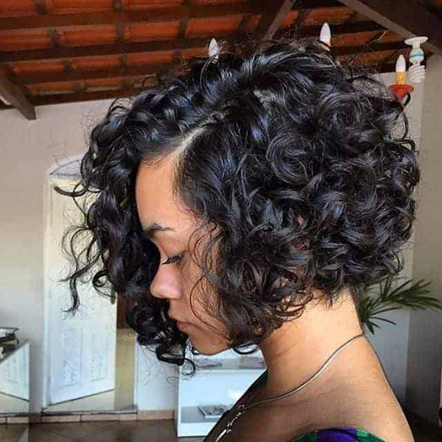 Angled Bob Curly Hairstyle