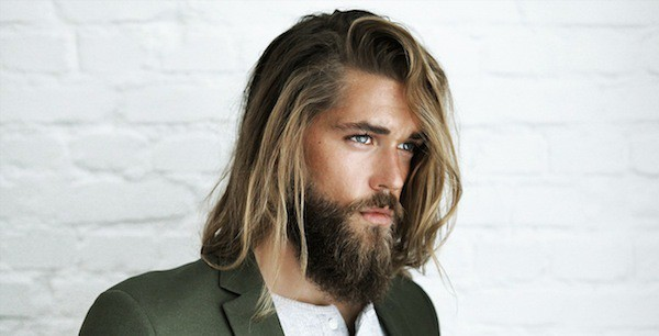 Back brown Hairstyle with long beard