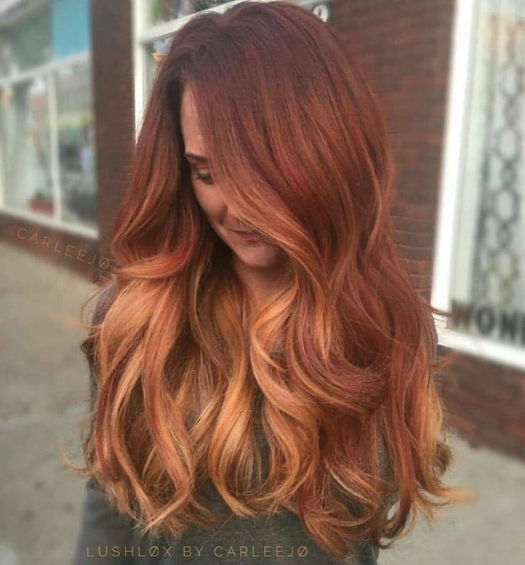 Blonde Balayage Red color hairstyle for women