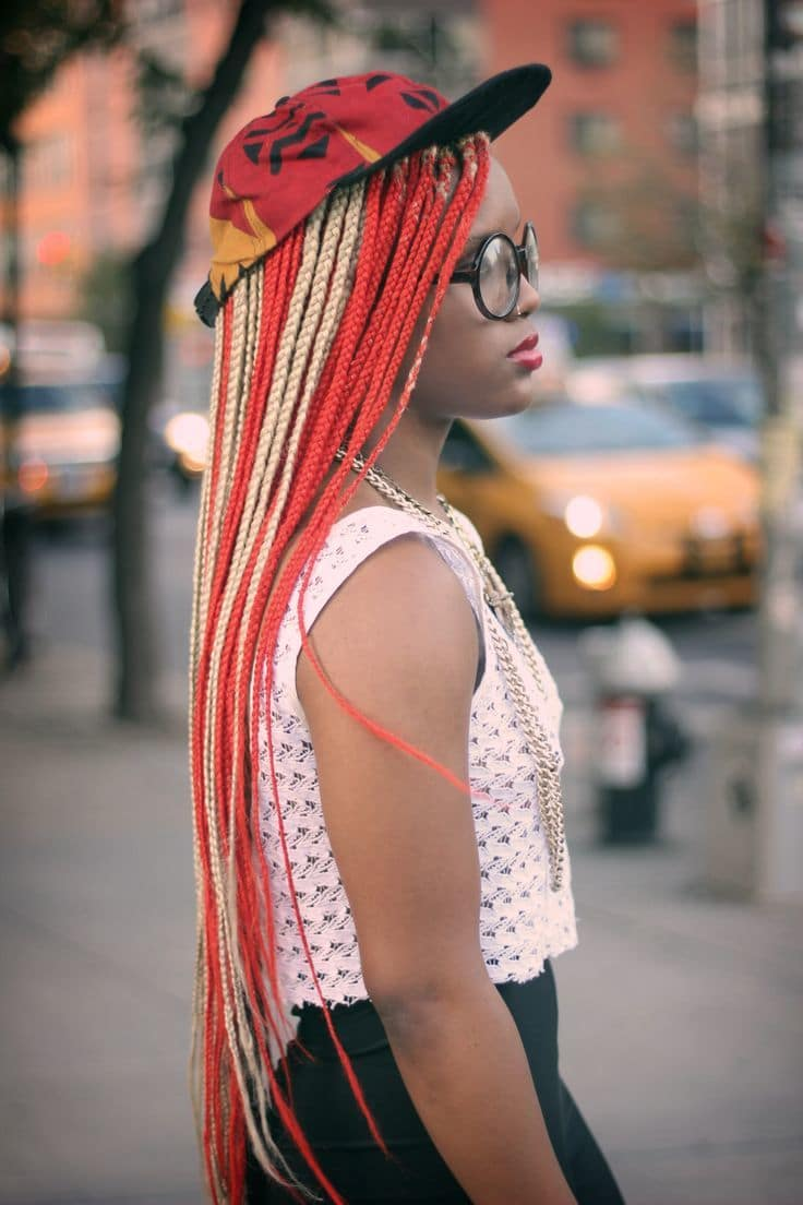 20 Epic Blonde, Red & Burgundy Box Braids to Try ...