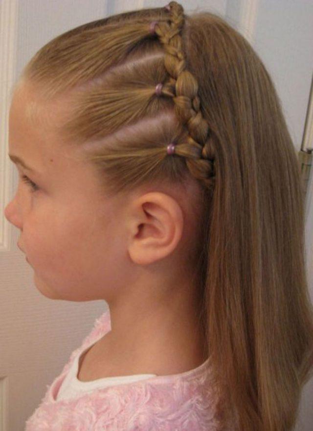 Sleek hair braiding for cute girl