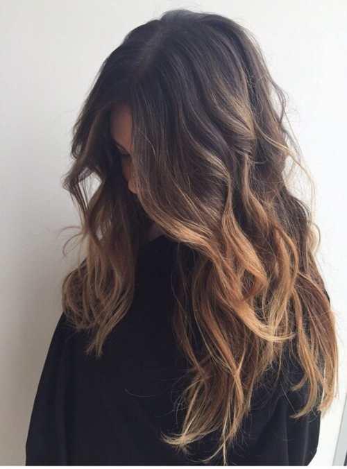 Girl brown Wavy balayage hairstyle