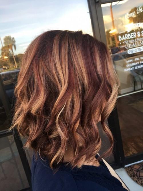 Brown Balayage Hair with Auburn highlights