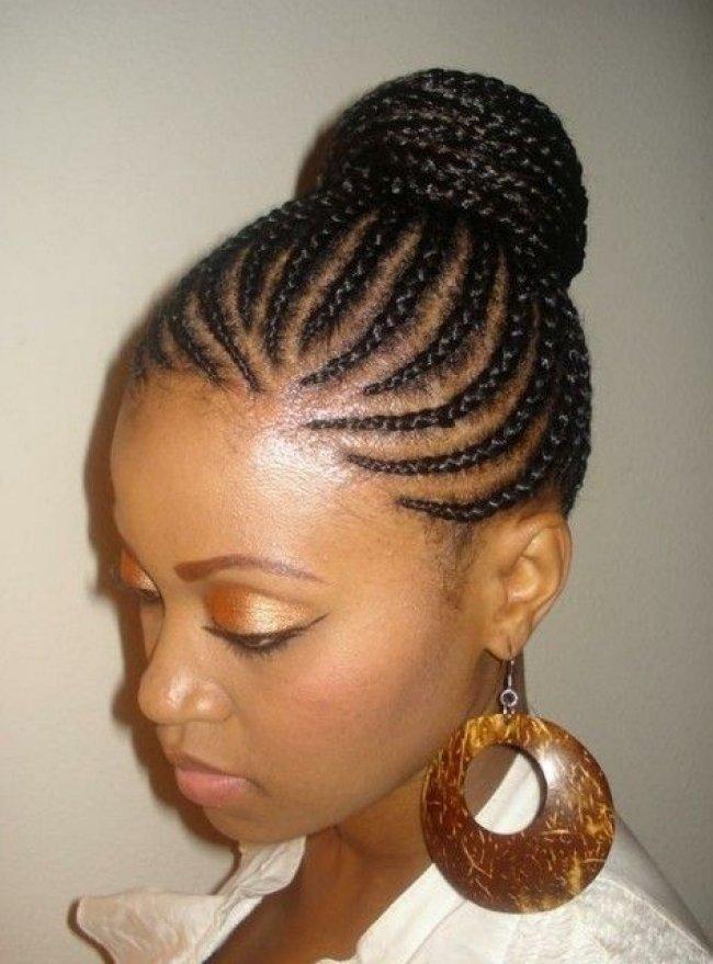 High bun Cornrow Braids Hairstyles For Black Women