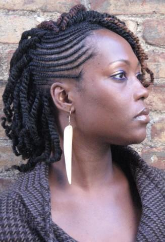 twists with Cornrowed Fauxhawk haircut