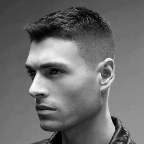 army Crew haircut with a side brush