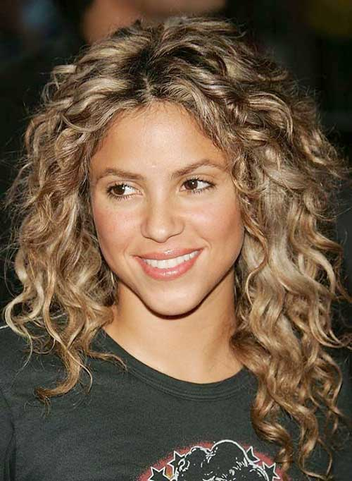 Natural curly with blonde hair