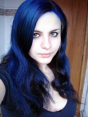 Black hair color with blue tint