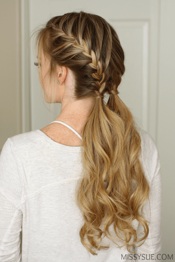 Double French Braid Pulled Into A Single Ponytail