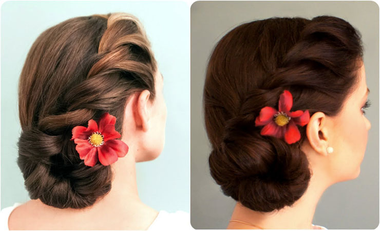 Side braid updos medium hair for girl