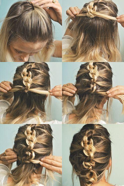 updos medium hair with Chain braid