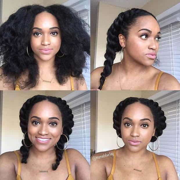 beautiful girl Flat Twist Crown haircut