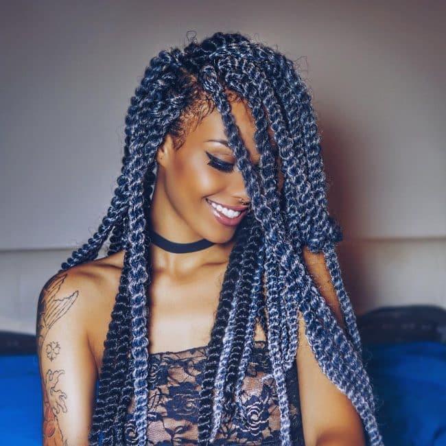 grey bluish braid hairstyle for girl