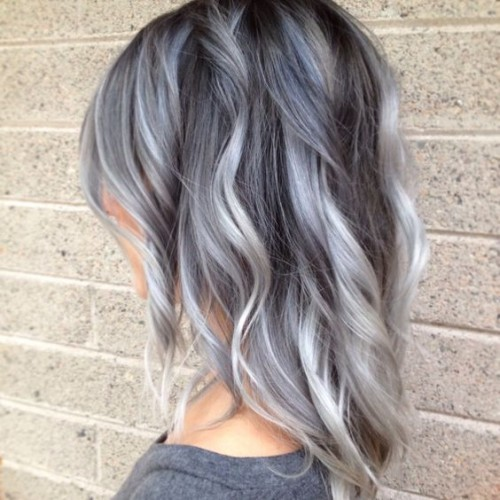 Gray Balayage hairstyle for girl