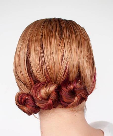Side-way Triple Low Bun for Wet Hair
