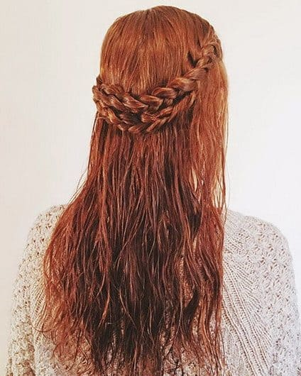 Braided Double Crown hairstyle for wet hair