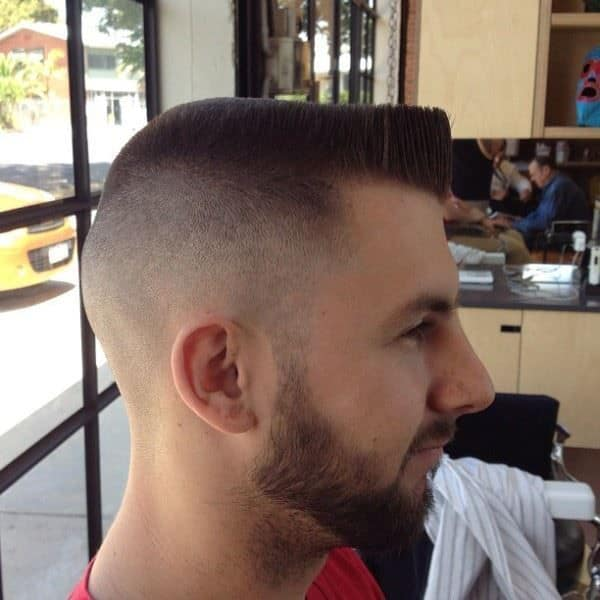 High and flat top army haircut for men