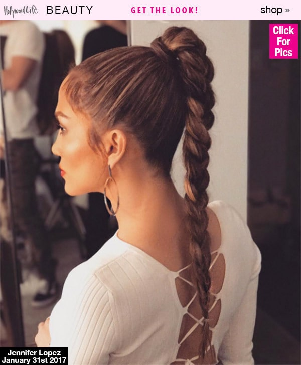 Jennifer Lopez hair with High Ponytail