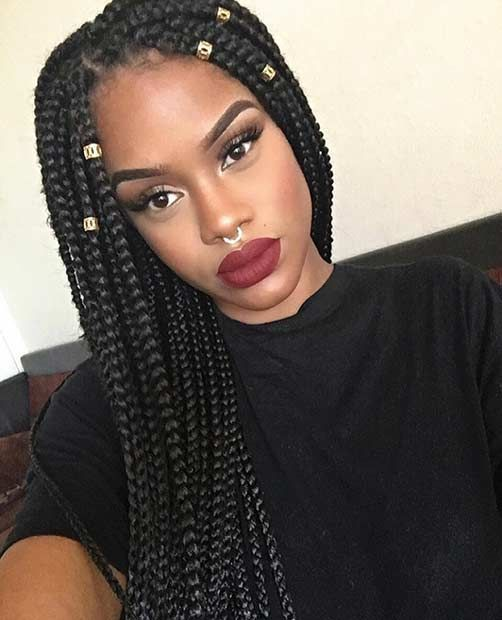 Long Bun Box Braid Hairstyles