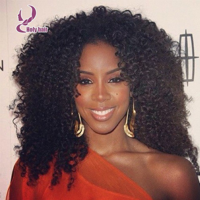light color with Malaysian Kinky Curly Haircut