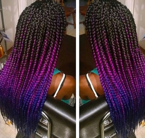 Black, Purple and Blue Marley Braid hair color