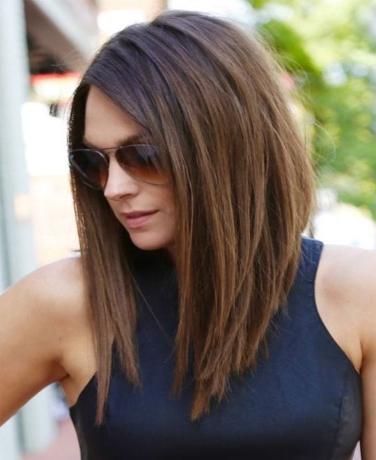 Long Bangs Medium Hairstyle With
