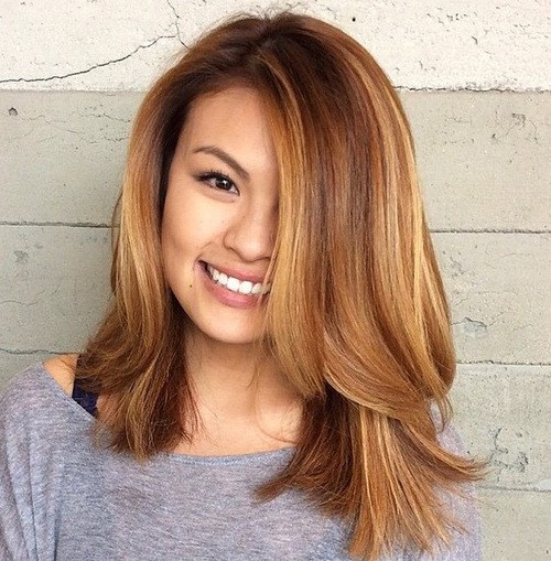 brown Highlights medium hairstyles for thick hair for girl