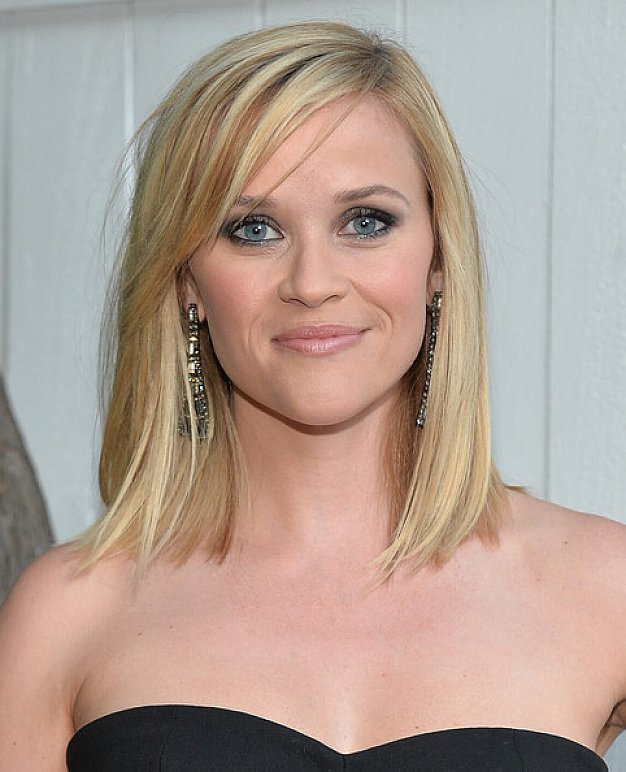 Blunt Bob With Side Swept Bangs Medium Length Blonde Hairstyles 1