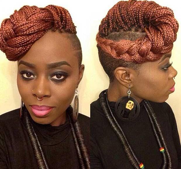 Fauxhawk micro braid styles for women