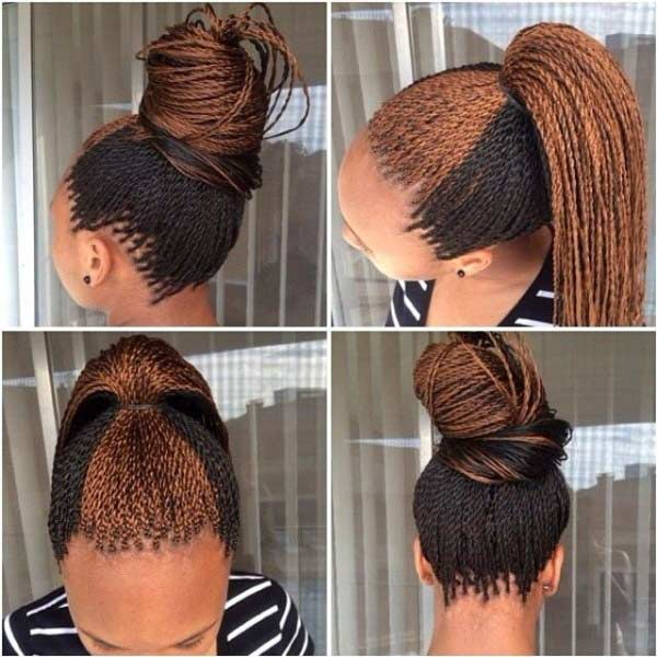 Black and Caramel micro braids hairstyles