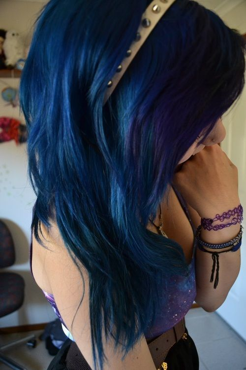 girl Navy Blue Hair Color idea