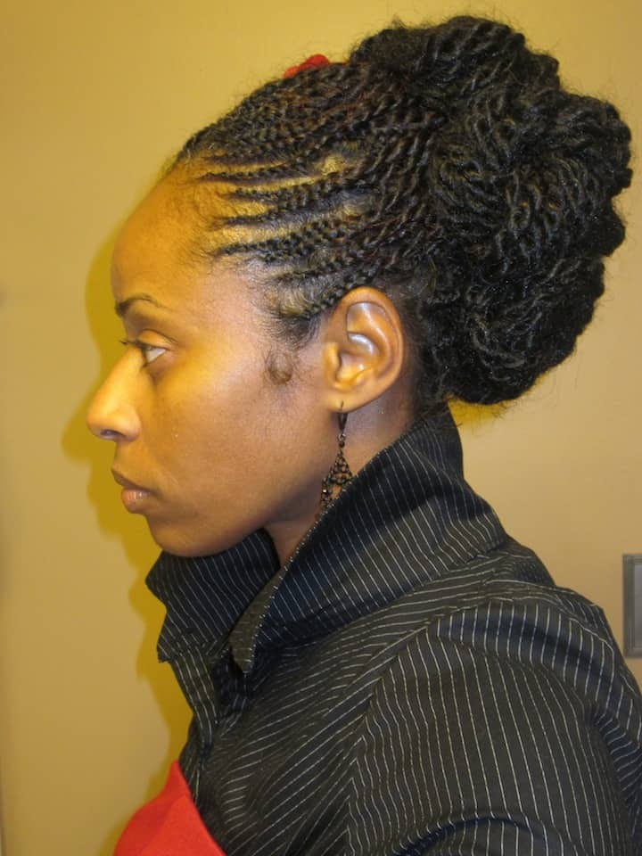 black women Nubian Twist Updo hairstyle