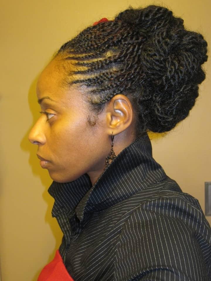 Black Women Nubian Twist Updo Hairstyle