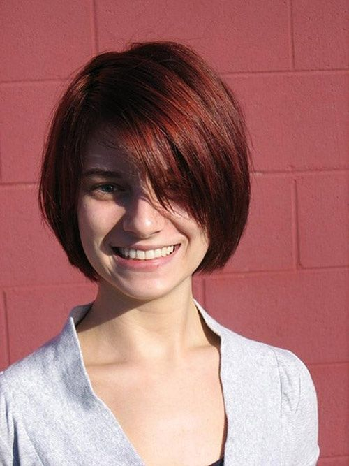 Red Shine Pageboy Hairstyle For Young