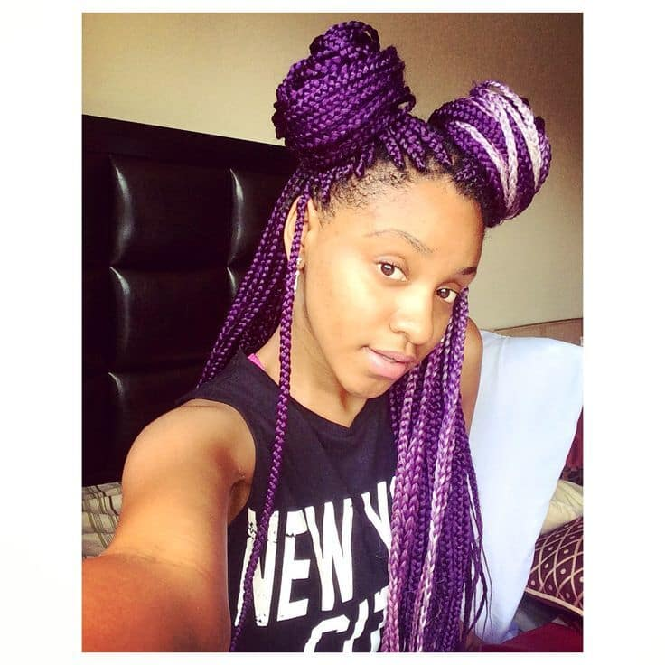 Add Texture And Dimension Into Your Purple Box Braid Style By Adding A Hint Of Another Colour When It Comes To Color Little Goes Long Way