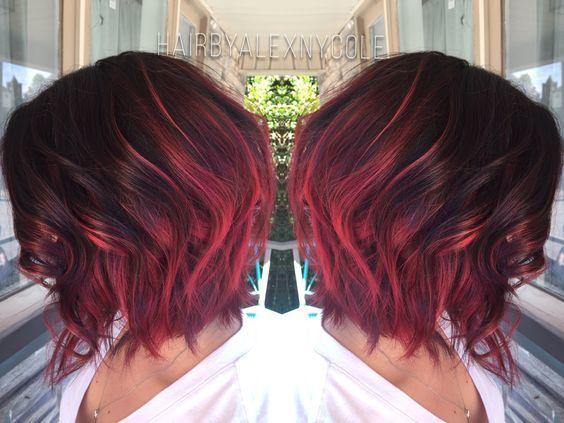 young girl Ruby Red Balayage haircut
