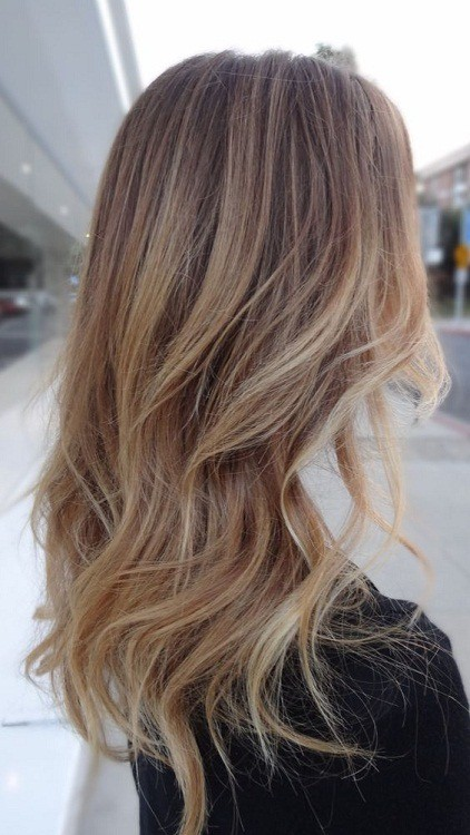 Trendy Balayage sandy blonde hair
