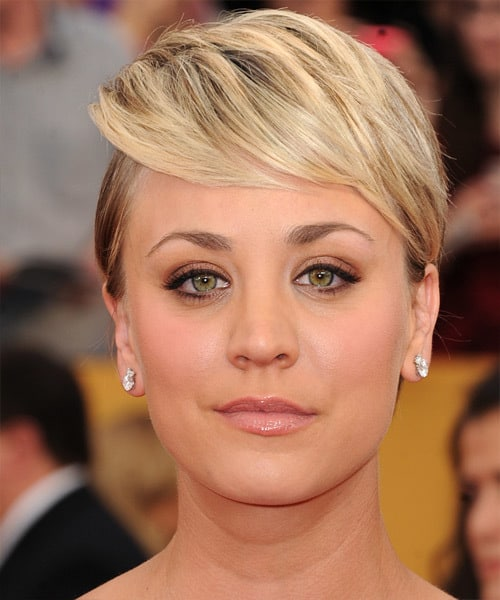 Kaley Cuoco's side swept bangs