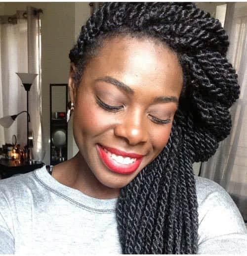 cute black girl Side Twist Crown hairstyle