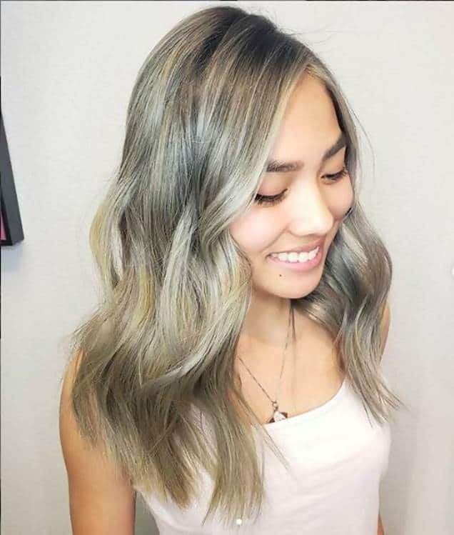 Asian blonde hair with highlights